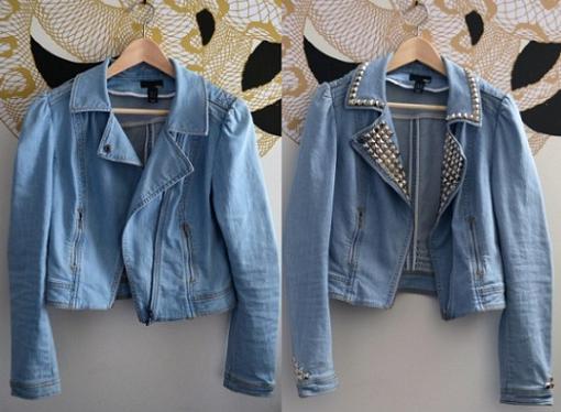 customizar chaqueta con tachuelas