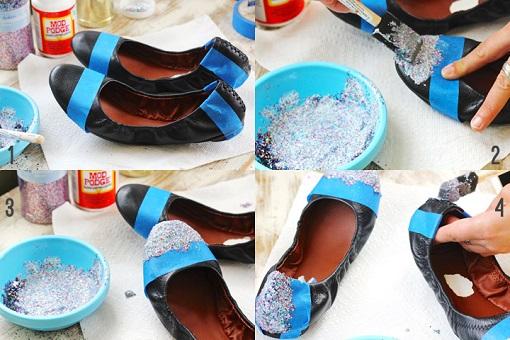 Customizar zapatos con purpurina