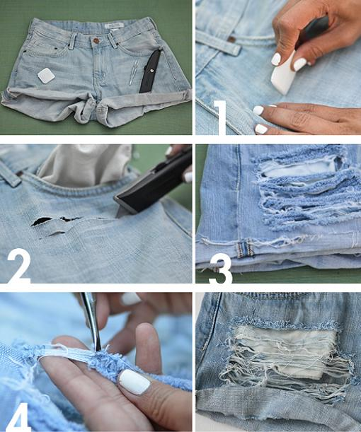 how to cut jeans to make them shorter