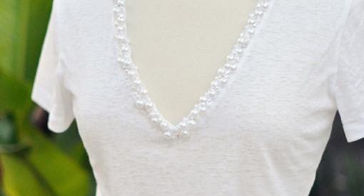 customizar camisetas basicas con perlas