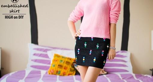 Decorar falda con abalorios