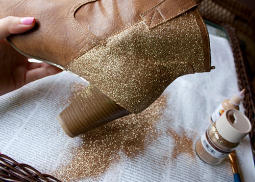 customizar botines y zapatos con glitter o purpurina tutorial