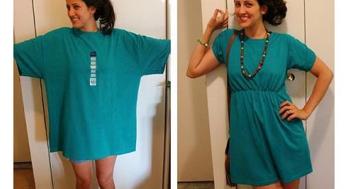 reciclar camiseta en vestido