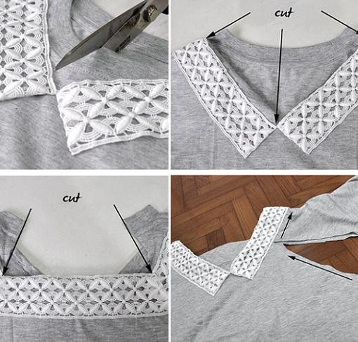 customizar camiseta con encaje en el cuello
