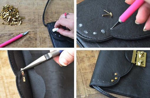 Customizar bolso con tachuelas