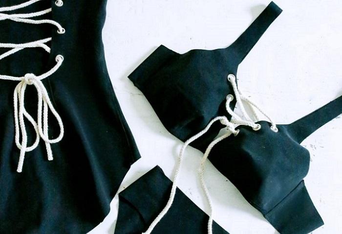 bikini o bañador con cordones diy