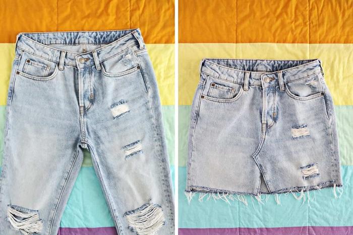 030d828a70 Cómo reciclar jeans para hacer una minifalda