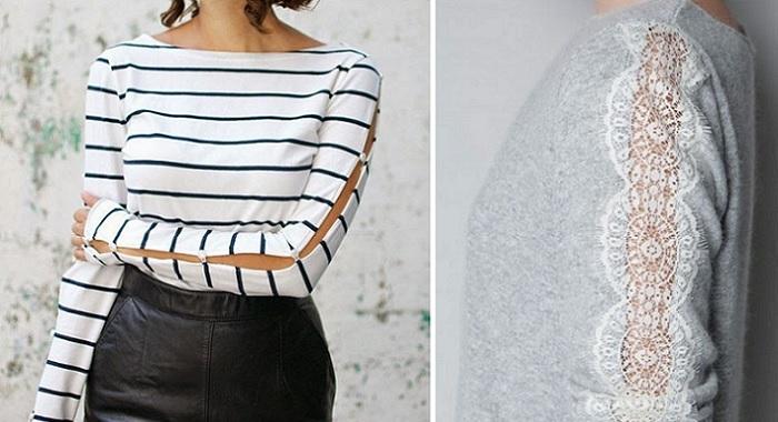 transformar con aberturas las mangas de camiseta jerseis